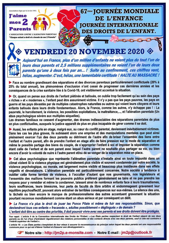 Affiche JM2P ET LES DROITS DE L'ENFANT - 20 NOVEMBRE 2020
