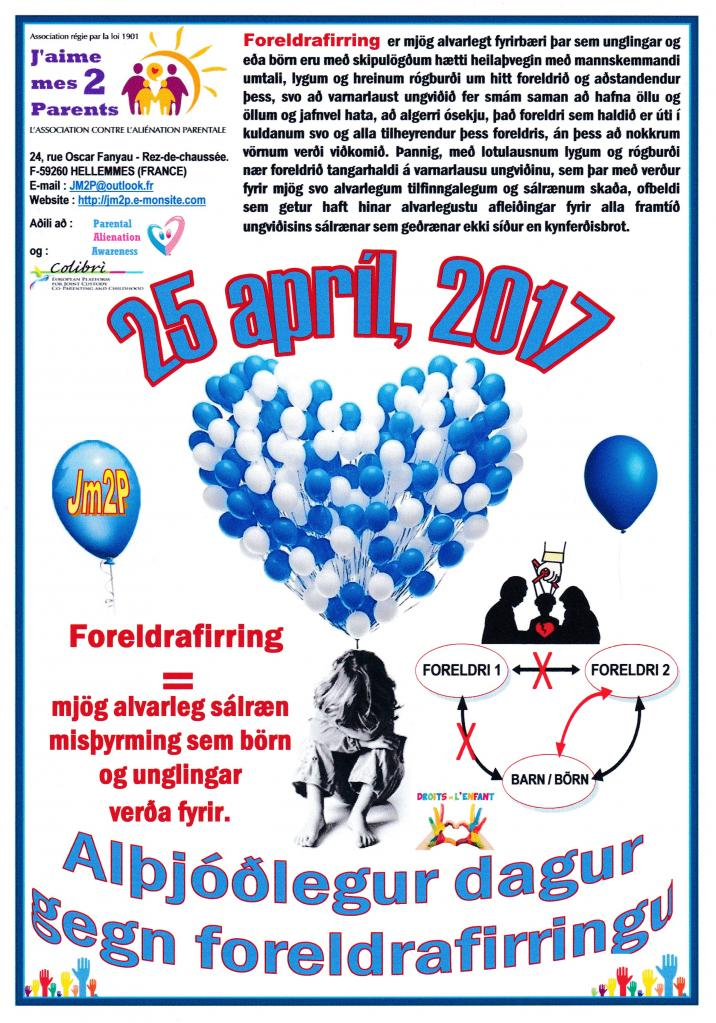 Affiche de l'opération Ballons du 25 avril 2017 - version islandaise