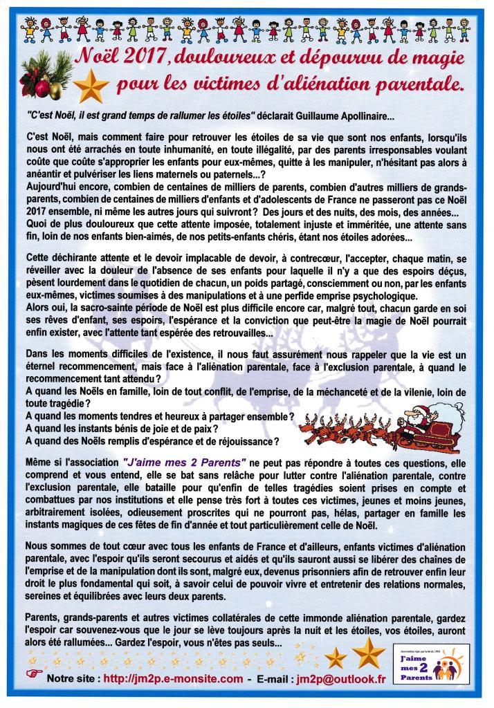 JM2P un douloureux Noël 2017 pour les victimes d'aliénation parentale