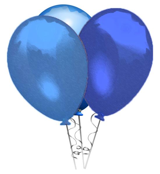 3 ballons bleus