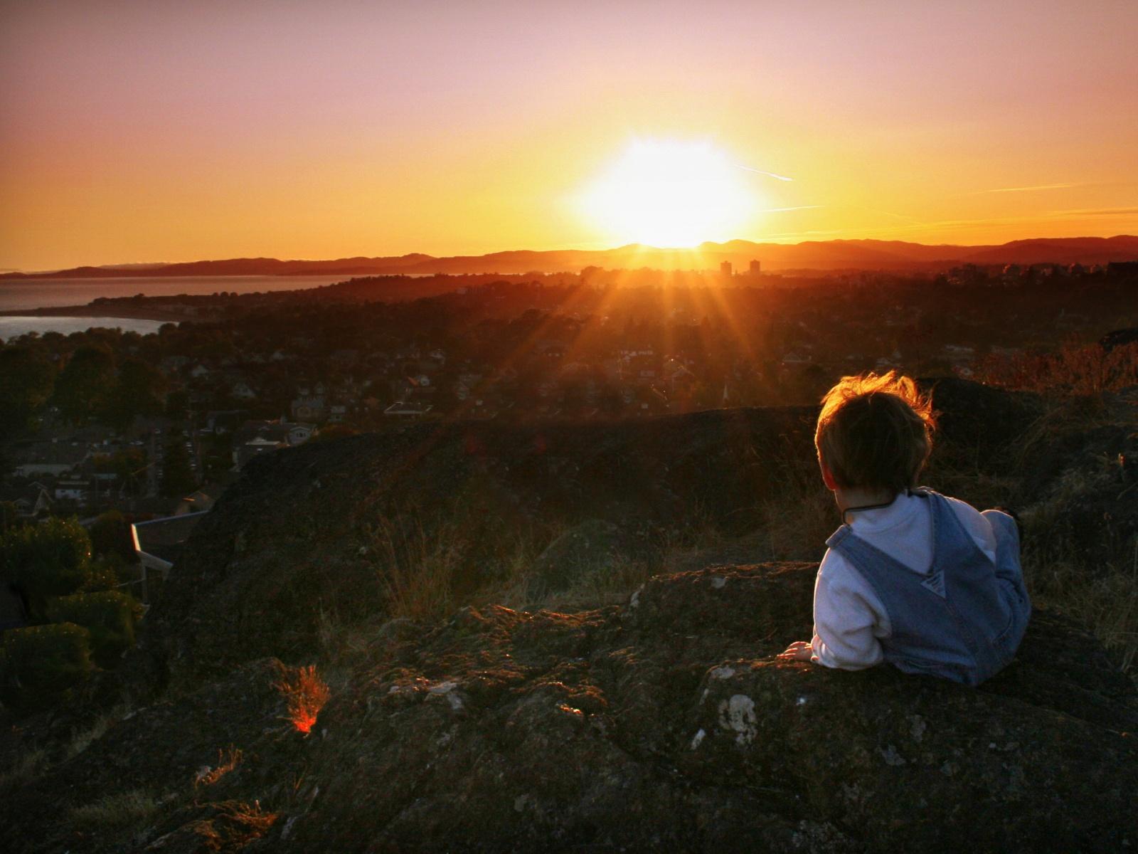 5398 regarde le couche de soleil enfant wallfizz
