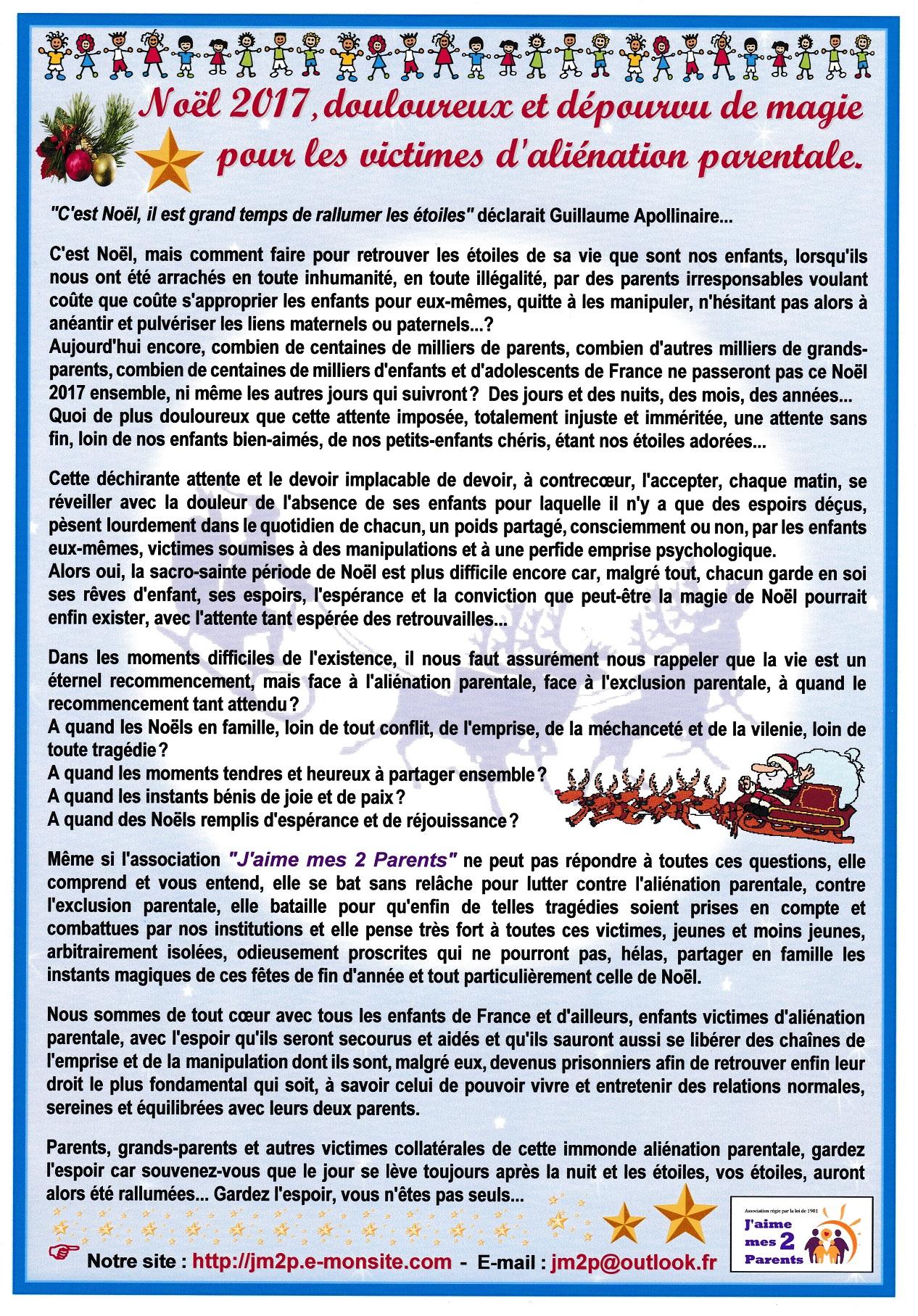 Association jm2p un douloureux noel 2017 pour les victimes d alienation parentale