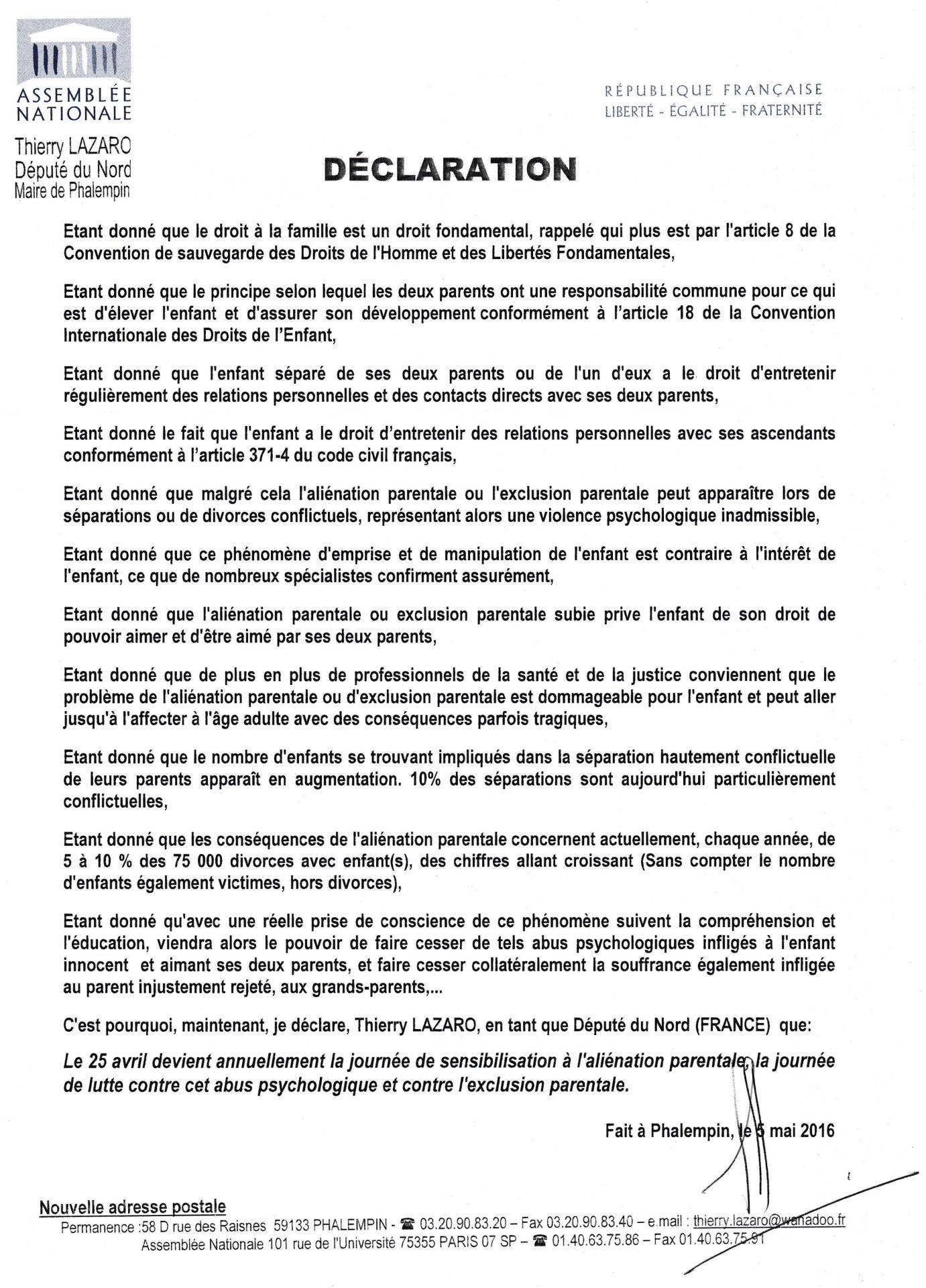 Declaration 05 05 2016 depute du nord lazaro