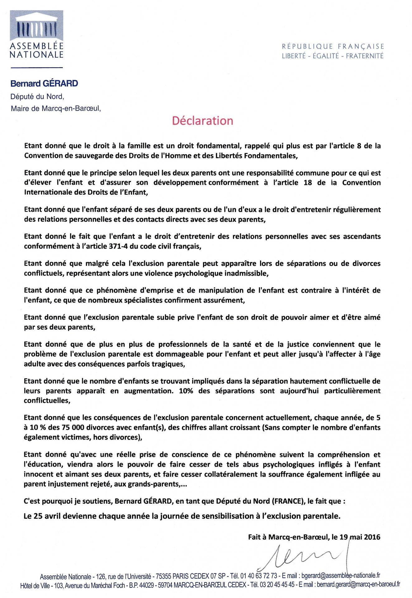 Declaration b gerard