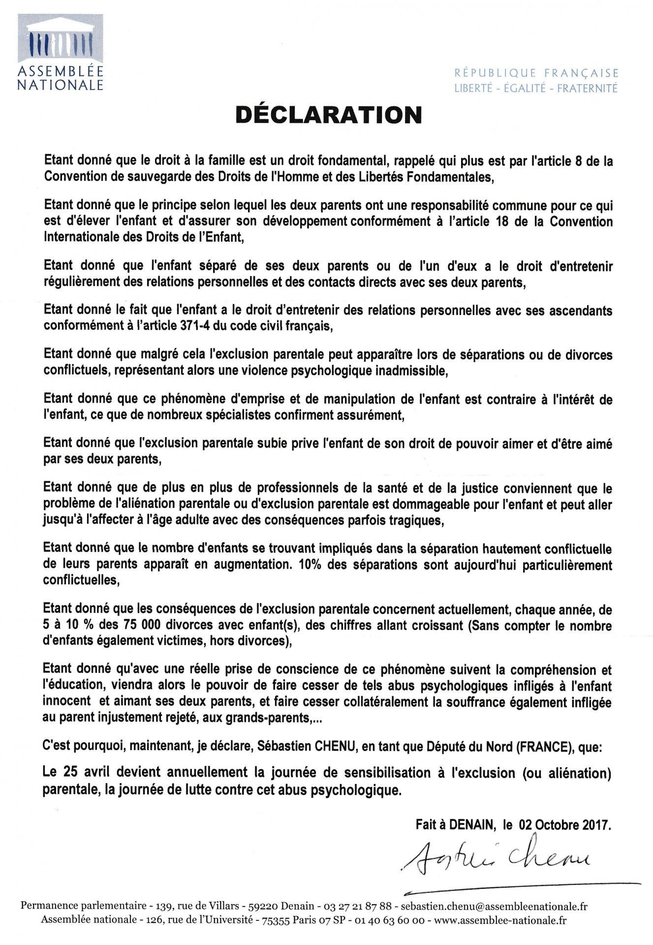 Declaration depute cehnu