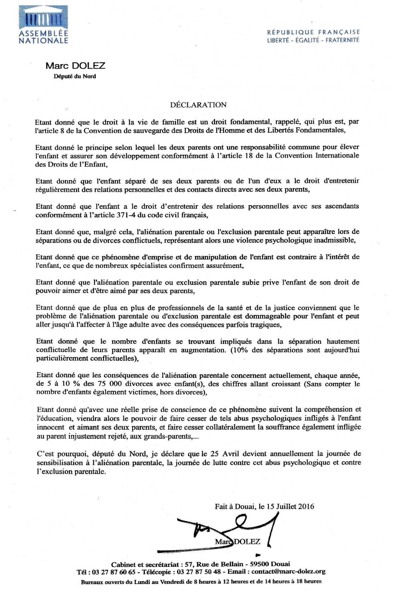 Declaration dolez n 6 parliament member