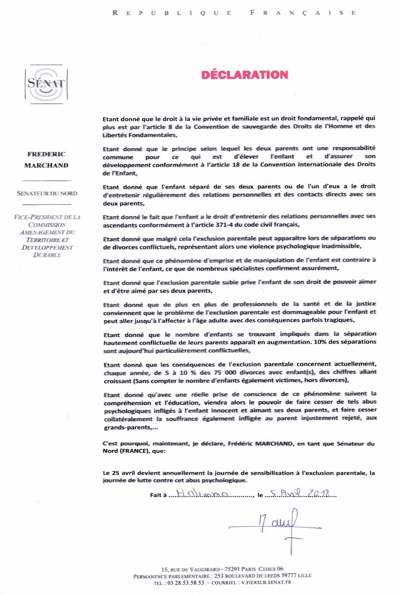 Declaration f marchand larem