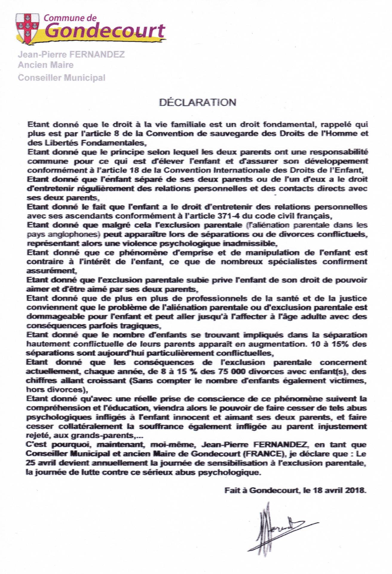 Declaration gondecourt