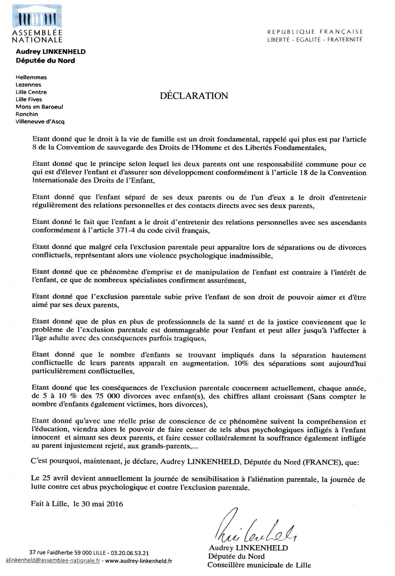 Declaration third parliament member france