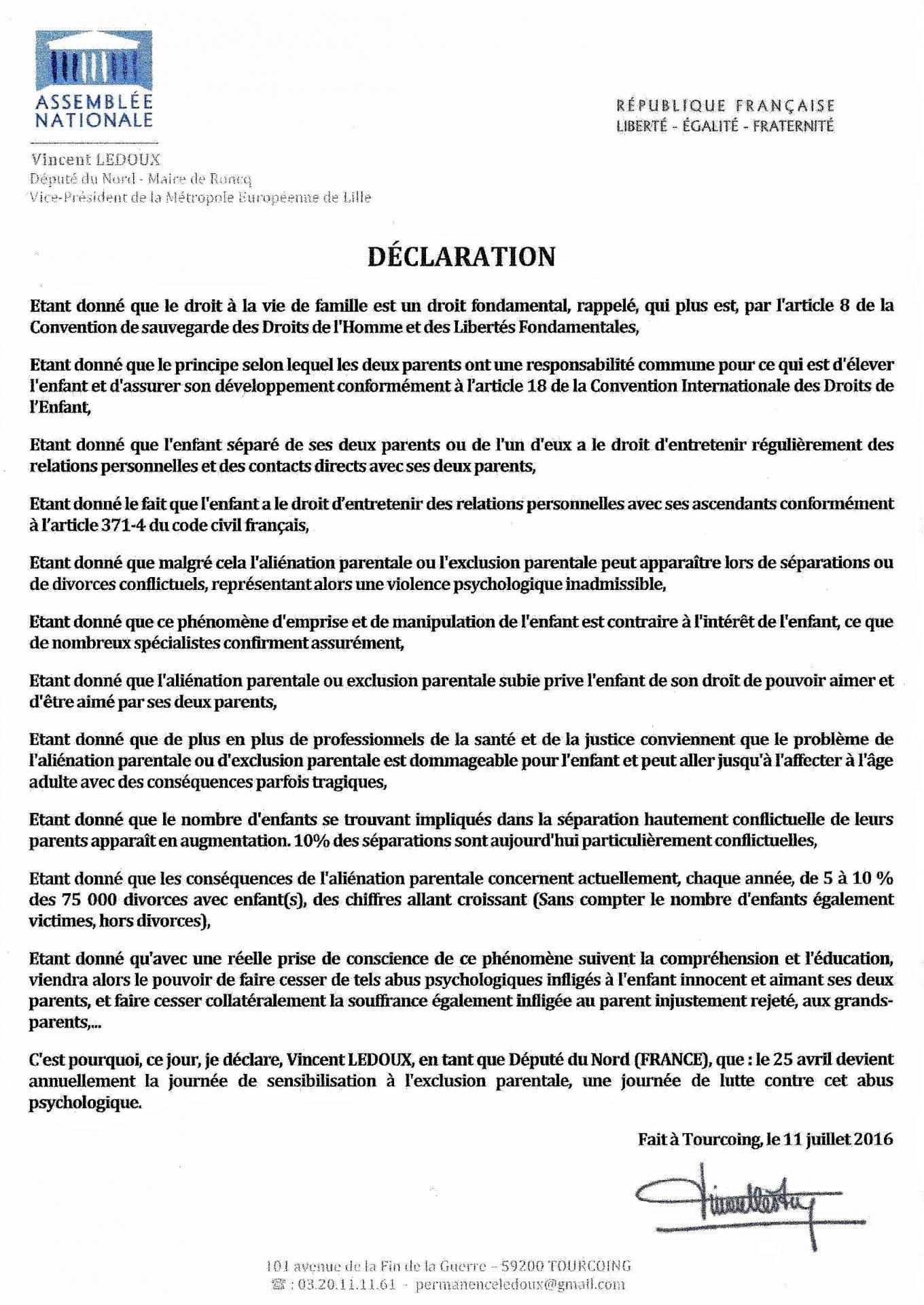 Declaration v ledoux