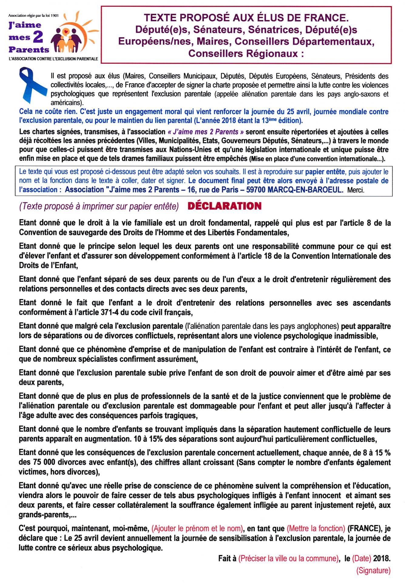 Info pour les elus declaration