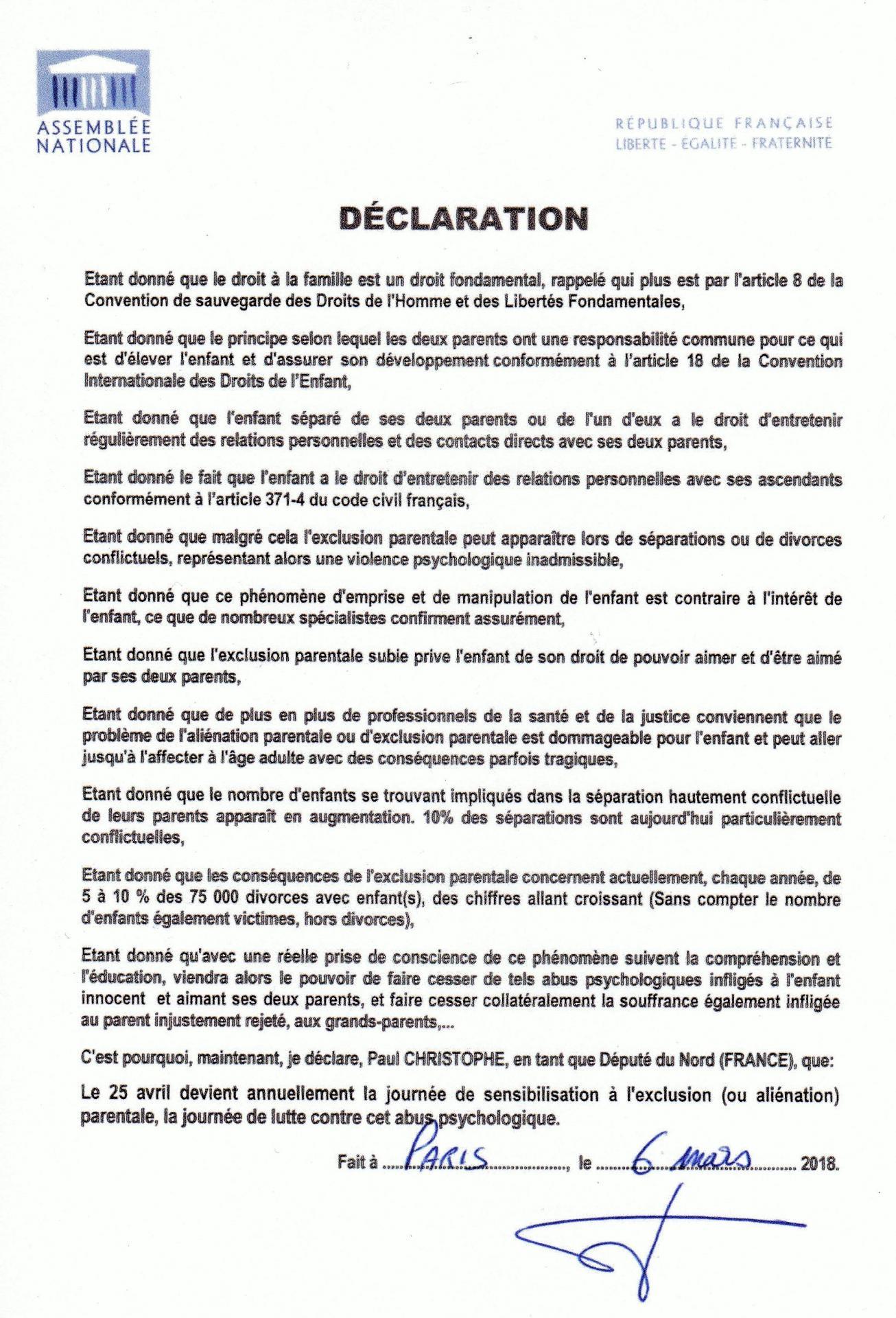 Paul christophe declaration 2018
